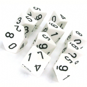 White & Black Opaque D10 Ten Sided Dice Set